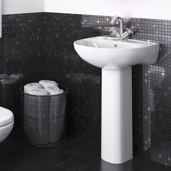 Premier Lawton Basin and Full Pedestal 550mm Wide - 1 Tap Hole