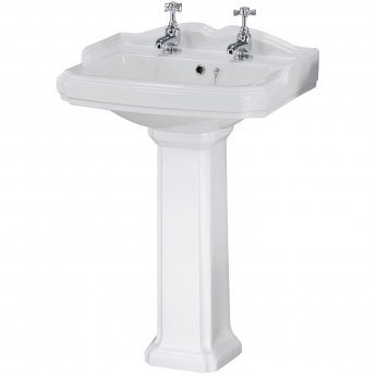 Nuie Legend Basin and Full Pedestal 590mm Wide - 2 Tap Hole
