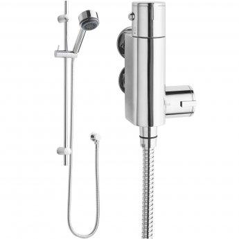 Nuie Linear Vertical Thermostatic Bar Shower Valve, Slider Rail Kit, Chrome