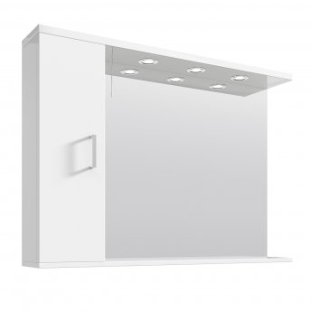 Premier Mayford Mirrored Bathroom Cabinet 750mm H x 1050mm W White - Left Handed