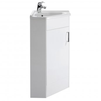 Nuie Mayford Floor Mounted Corner Vanity Unit with Basin - 550mm Wide - Gloss White