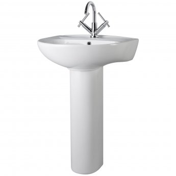Nuie Melbourne Large Basin and Full Pedestal 550mm Wide - 1 Tap Hole