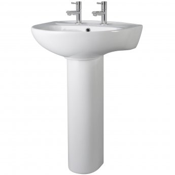 Nuie Melbourne Basin and Full Pedestal 550mm Wide - 2 Tap Hole