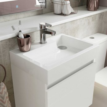 Nuie Merit Wall Hung 1-Door Vanity Unit with L-Shaped Basin 500mm - Gloss White