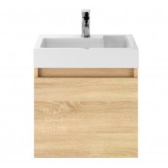 Nuie Merit Wall Hung 1-Door Vanity Unit with L-Shaped Basin 500mm - Natural Oak