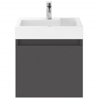 Nuie Merit Wall Hung 1-Door Vanity Unit L-Shaped Basin 500mm - Gloss Grey