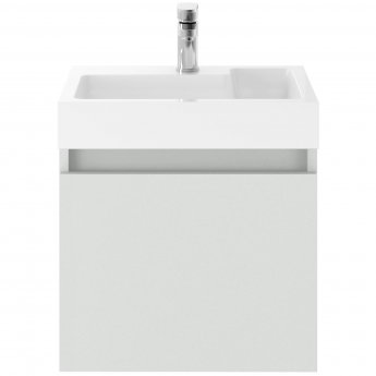 Nuie Merit Wall Hung 1-Door Vanity Unit L-Shaped Basin 500mm - Gloss Grey Mist