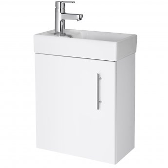 Nuie Minimalist Compact Wall Hung Vanity Unit with Basin 400mm Wide - Gloss White 1 Tap Hole