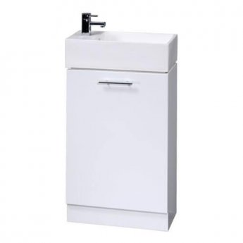 Premier Minimalist Compact Floor Standing Vanity Unit with Basin 480mm Wide - Gloss White