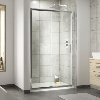 Nuie Pacific Sliding Shower Door 1400mm Wide - 6mm Glass