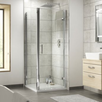 Nuie Pacific Hinged Shower Door 800mm Wide - 6mm Glass