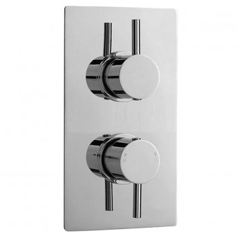 Premier Pioneer Round Concealed Thermostatic Twin Shower Valve, Dual Handle, Chrome