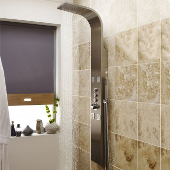 Nuie Pirlo Thermostatic Dream Shower Panel, 4 Body Jets, Stainless Steel