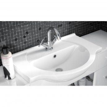 Nuie Saturn Combination Furniture Pack with Round Basin and WC Unit - 1 Tap Hole