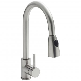 Nuie Kitchen Sink Mixer Tap Pull-Out Spray Single Handle Brushed Steel