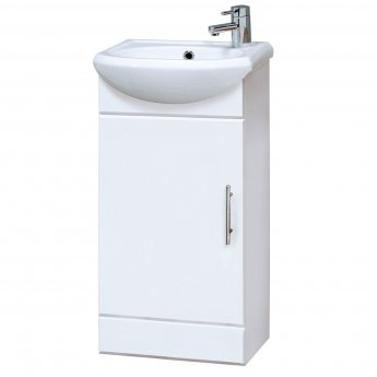 Premier Sienna Floor Standing Vanity Unit with Basin 400mm Wide - Gloss White 1 Tap Hole