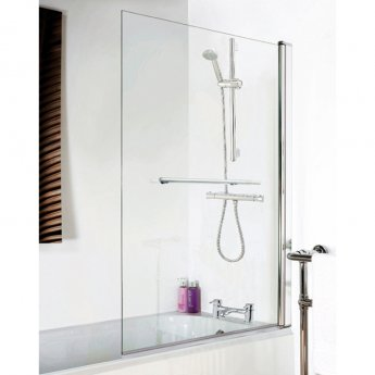 Nuie Square Bath Screen with Rail, 1435mm High x 775-790mm Wide, 6mm Glass