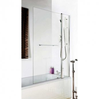 Nuie Square Bath Screen with Panel and Rail, 1435mm High x 985-1005mm Wide, 6mm Glass