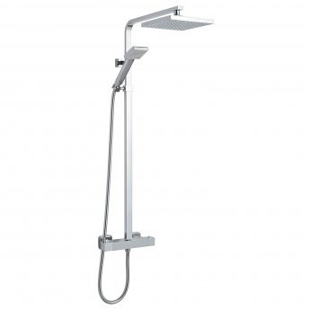 Nuie Square Bar Mixer Shower with Shower Kit + Fixed Head - Chrome