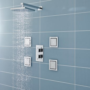 Nuie Square Fixed Shower Head, 200mm x 200mm, Chrome