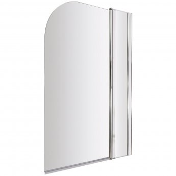 Nuie Straight Bath Screen with Panel, 1435mm High x 985-1005mm Wide, 6mm Glass