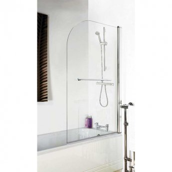 Nuie Straight Bath Screen with Rail, 1435mm High x 770-790mm Wide, 6mm Glass