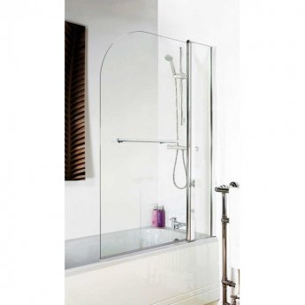 Nuie Pacific Round Top Bath Screen with Fixed Panel and Towel Rail 1433mm H x 1005mm W - 6mm Glass