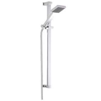 Premier Wall Mounted Square Thermostatic Bath/Shower Mixer Tap, Slider Rail Kit, Chrome