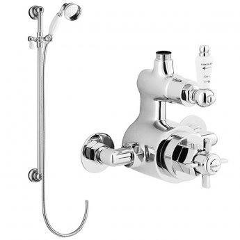 Nuie Traditional Twin Exposed Thermostatic Valve, Slider Rail Kit, Chrome