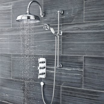 Nuie Traditional Triple Concealed Shower Valve, Slide Rail Kit, Fixed Shower Head - Chrome