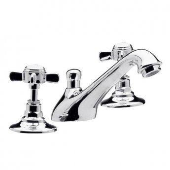 Premier Traditional 3 Tap Hole Basin Mixer Tap with Pop-Up Waste Deck Mounted - Chrome