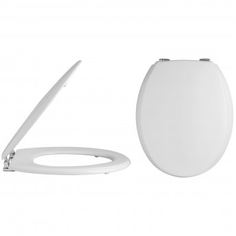 Nuie Traditional Wooden Toilet Seat, Chrome Hinges, White