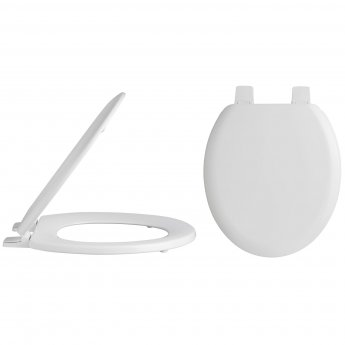 Nuie Traditional Wooden Toilet Seat, Plastic Hinges, White