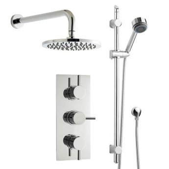 Nuie Round Triple Concealed Mixer Shower with Shower Kit + Fixed Head