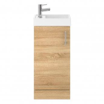 Nuie Vault Floor Standing 1-Door Vanity Unit with Basin Natural Oak - 400mm Wide
