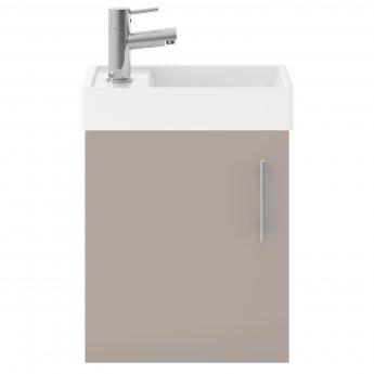 Nuie Vault Wall Hung 1-Door Vanity Unit with Basin Stone Grey - 400mm Wide