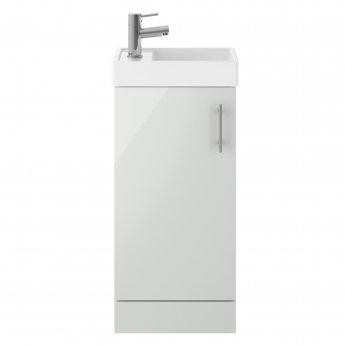 Premier Vault Floor Standing 1-Door Vanity Unit with Basin 400mm Wide - Gloss Grey Mist