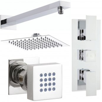 Nuie Vibe Concealed Thermostatic Triple Shower Valve, Fixed Shower Head, Body Jets, Chrome