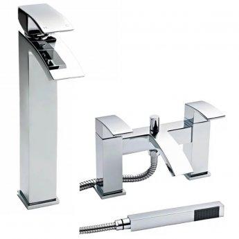 Premier Vibe Tall Mono Basin Mixer Tap and Bath Shower Mixer Tap Pillar Mounted, Chrome