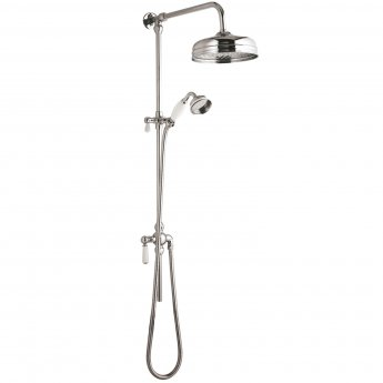 Nuie Victorian Exposed Shower Valve and Rigid Riser Kit with Diverter - Chrome