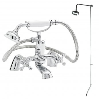Nuie Viscount Range Bath/Shower Mixer, Rigid Riser Kit, Chrome