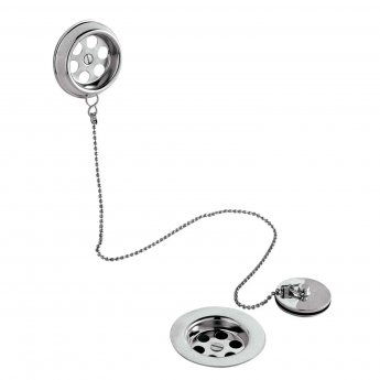 Nuie Retainer Bath Waste with Overflow Brass Plug and Ball Chain - Chrome