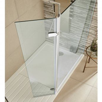 Nuie Hinged Wet Room Return Panel, 300mm Wide, 8mm Glass