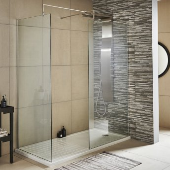 Nuie Wet Room Screen 1850mm x 1200mm Wide with Support Bar - 8mm Glass