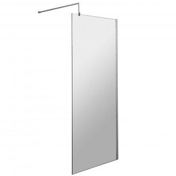 Nuie Wet Room Screen 1850mm x 1000mm Wide with Support Bar - 8mm Glass