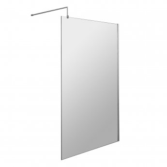 Nuie Wet Room Screen 1850mm H x 1100mm W with Support Bar - 8mm Glass