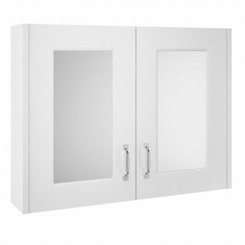 Premier York 2 Door Mirror Cabinet 800mm Wide - White Ash