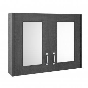 Premier York 2-Door Mirrored Bathroom Cabinet 600mm H x 800mm W - Royal Grey