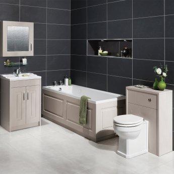Nuie York WC Toilet Unit 500mm Wide - Grey Woodgrain