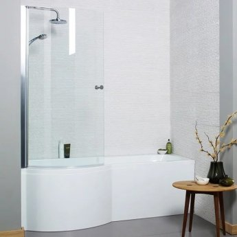 Prestige Oblique P-Shaped Shower Bath 1700mm x 700mm/850mm Left Handed